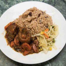 Stew-Chicken-Served-with-Plantin- Emmanuel Caribbean Takeaway